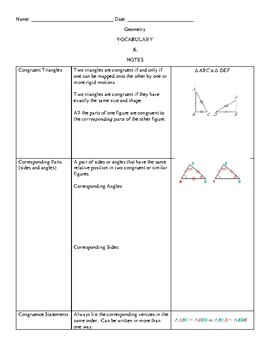 Geometry Vocabulary and Notes