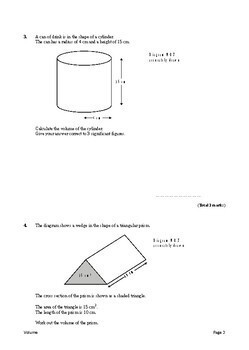 Geometry: Volume Exam Questions (with Answers)