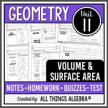 Volume and Surface Area (Geometry Curriculum - Unit 11) by ...