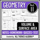 Volume and Surface Area (Geometry - Unit 11)