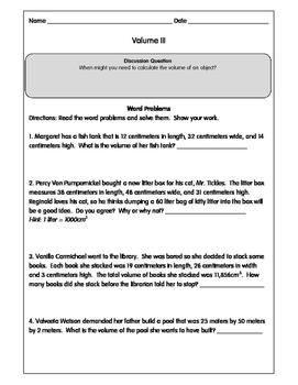 Geometry Volume Worksheets