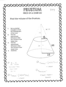 Geometry Volume and Surface Area of a Frustum
