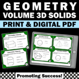 Geometry Volume of 3D Shapes, 7th 8th Grade Math Review Game Middle School Math