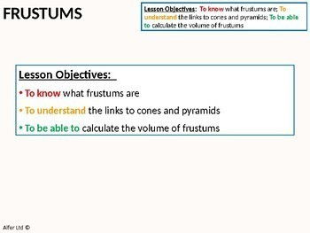 Geometry: Volume 4 - Volume of Frustums (+ worksheet)