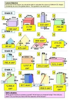 Geometry: Volume of Prisms (differentiated worksheet)