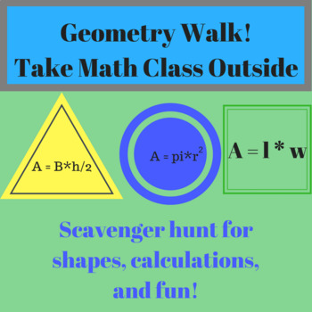Geometry Walk - Worksheet Students Find Circle Measurements Distance Learning