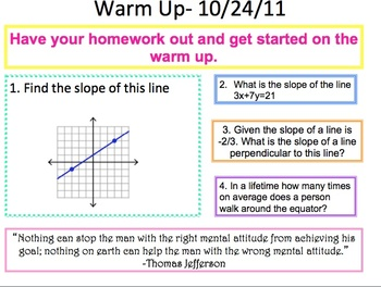 Geometry Warm up from the 1st 9 Weeks of School