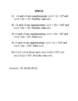 Geometry Weekly Assignments on solving equations