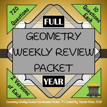 Geometry Weekly Review Worksheets Packet