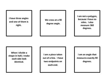Geometry:  Who am I?  Game for Common Core