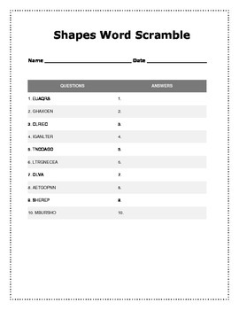 Geometry Word Scramble Activity