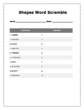 Geometry Word Scramble Activity