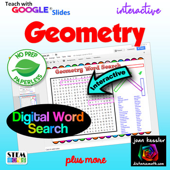 Geometry  Interactive Word Search Puzzle and Vocabulary with GOOGLE Slides