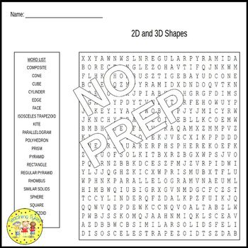 Geometry Word Search Puzzles