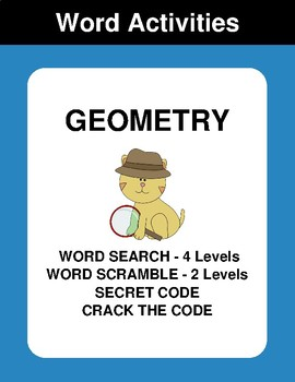 Geometry - Word Search, Word Scramble,  Secret Code,  Crack the Code