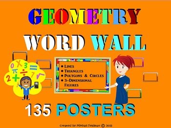 GEOMETRY WORD WALL - 135 posters/cards K-9, Vocabulary Builder, Test Prep Review