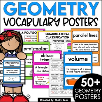 Geometry Vocabulary Posters and Cards for Interactive Notebooks