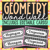 72 Geometry Vocabulary Word Wall Terms and EDITABLE Cards
