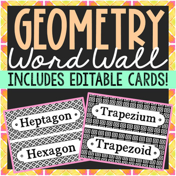 Geometry Vocabulary Word Wall Terms or Flash Cards, Math T