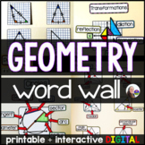 Geometry Word Wall - print and digital