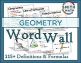 Geometry Word Wall - Definitions & Formulas