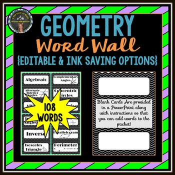 Geometry Word Wall Strips: (108 Cards in All!)
