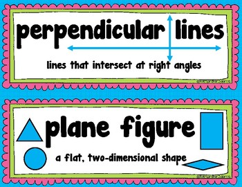 Geometry Word Wall Vocabulary Cards