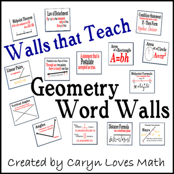 Geometry Word Wall~Walls that Teach~85+ Topics~Posters~Formula&more