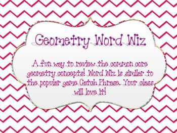 Geometry Word Wiz Game {Similar to the fun game Catch Phrase}