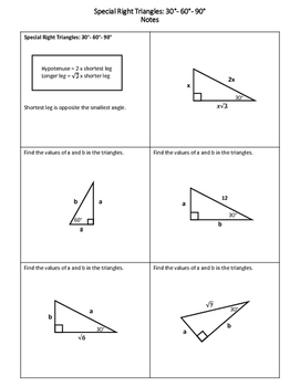 Geometry Worksheet 30 60 90 Triangles By My Geometry World Tpt