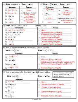 Geometry Worksheet   Algebraic Proof by Word of Math   TpT