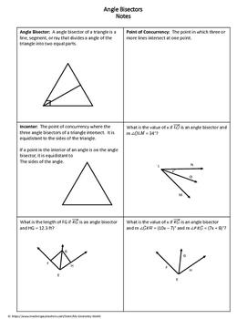Geometry Worksheet: Angle Bisectors