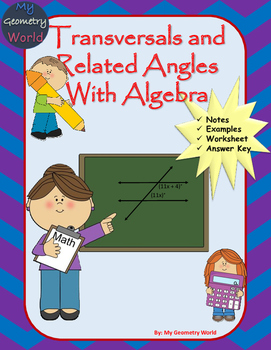Geometry Worksheet: Transversals and Related Angles with Algebra