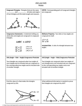 Geometry Worksheet: Angle-Side-Angle and Angle-Angle-Side