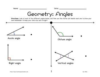 Geometry Worksheet: Angles 2nd-5th Grade