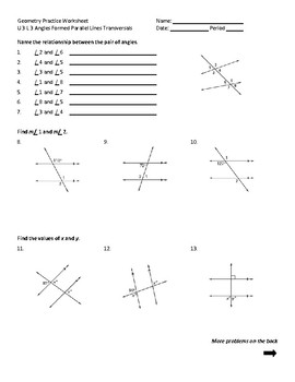 Parallel Lines With A Transversal Worksheets & Teaching ...