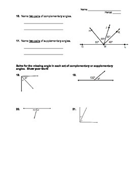 Geometry Worksheet - Angles, Points, Lines, & Planes