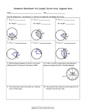 Geometry Worksheet: Arc Length, Sector Area, Segment Area