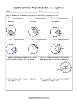 Geometry Worksheet: Arc Length, Sector Area, Segment Area