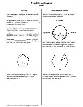 Geometry Worksheet: Area of Regular Polygons