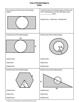 Geometry Worksheet: Area of Shaded Regions