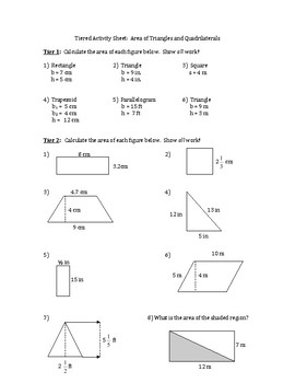 Geometry Worksheet Area Of Triangles And Quadrilaterals