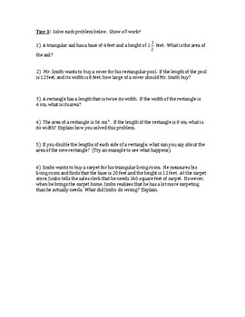 Geometry Worksheet, Area of Triangles and Quadrilaterals, Differentiated, Tiered
