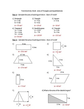 Geometry Worksheet Area Of Triangles And Quadrilaterals Differentiated Tiered