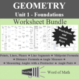 Geometry Worksheet Bundle with Review and Assessments - Unit 1 Foundations