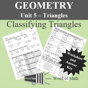 Geometry Worksheet - Classifying Triangles