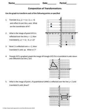 Geometry Worksheet: Composition of Transformations