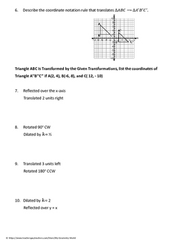geometry worksheet composition of transformations by my geometry world. Black Bedroom Furniture Sets. Home Design Ideas
