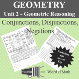 Geometry Worksheet - Conjunctions, Disjunctions, and Negations