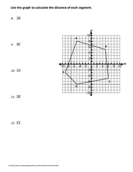Geometry Worksheet: Distance